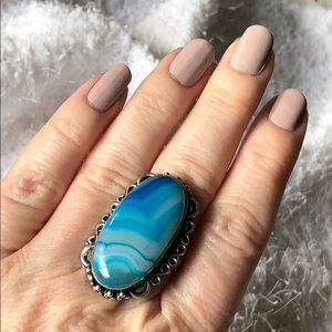Jewelry - New! Blue Lace Onyx Sterling Silver Statement Ring
